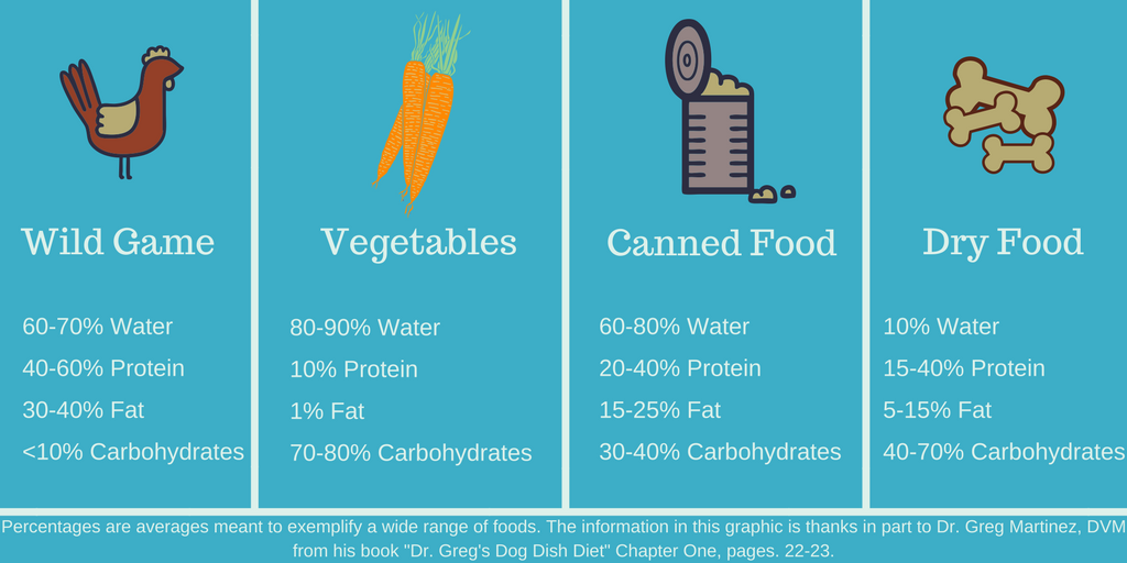 dogs, dog food, nutrient comparison, water, protein, fat, carbohydrate, greg Martinez DVM